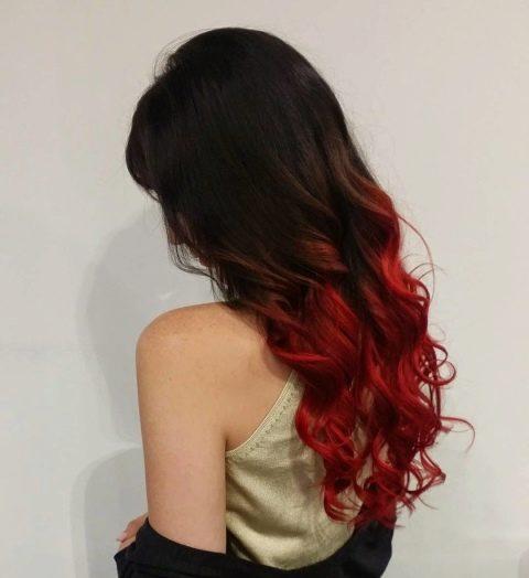 Омбре с красными концами волосы