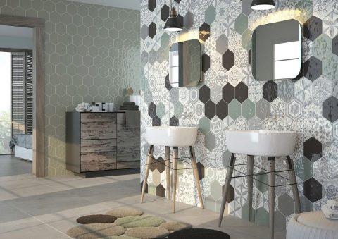 Плитка «соты» в ванной: рисунки на кафельной и другой шестигранной плитке.  Шестигранник-мозаика и другие варианты шестиугольной плитки в интерьере  ванной комнаты