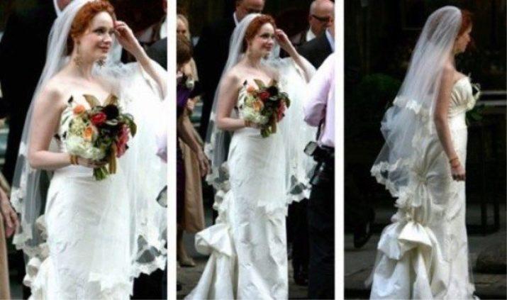 Свадебное платье Кристины Хендрикс вид сзади