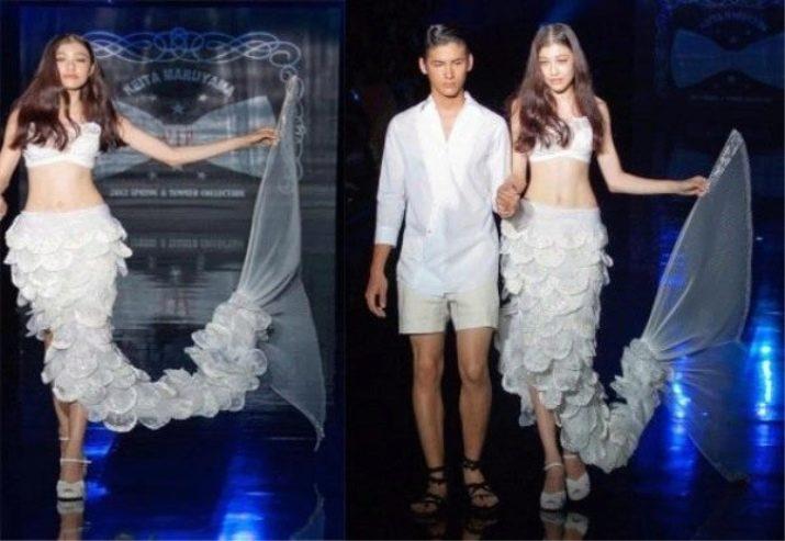 Свадебное страшное платье русалочка