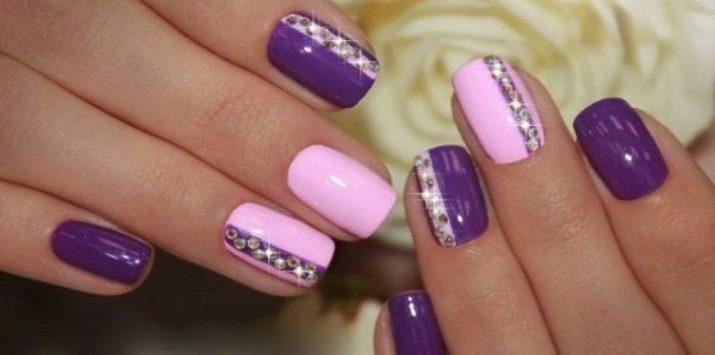 Розово-фиолетовый маникюр идеи дизайна ногтей с помощью лака