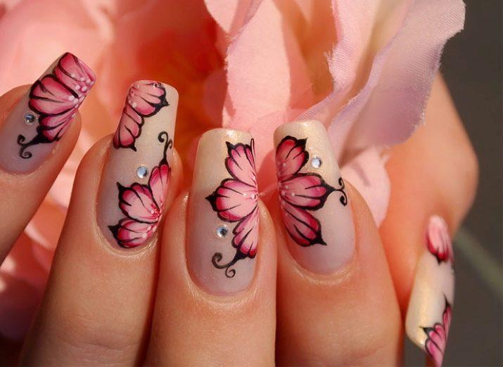 как нарисовать цветок на ногтях поэтапно